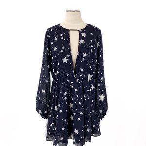 Lovers + Friends- Lana Navy Star Dress Size Large